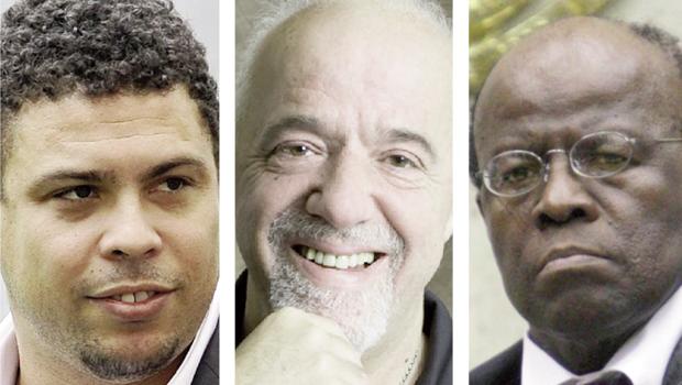 Ronaldo Nazário, ex-atacante da Seleção Brasileira, Paulo Coelho, escritor de renome internacional, e Joaquim Barbosa, presidente do Supremo Tribunal Federal: três vítimas do discurso do ódio que está imperando nas redes sociais e, aos poucos, até nas ruas brasileiras