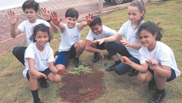 Alunos da rede municipal de ensino plantam árvore: lição de cidadania e cuidado com o futuro / Foto: Iris Roberto