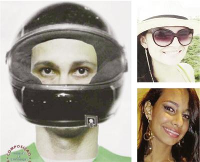 Retrato falado do suspeito de ter matado a assessora parlamentar Ana Maria Duarte (no alto):  jovem o reconheceu como sendo o mesmo que matou sua namorada, Isadora Cândido (acima)