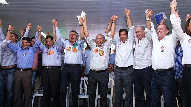 Ronaldo Caiado oficializado na manhã desta segunda-feira em convenção na pecuária. Foto: Fernando Leite/Jornal Opção