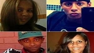 As vítimas Raissa de Souza Ferreira, 15 anos, Daniele Gomes da Silva, 15 anos, Neylor Henrique Gomes Carneiro, 18 anos, Denis Pereira dos Santos, de 16 anos, e H.M.S, 15 anos