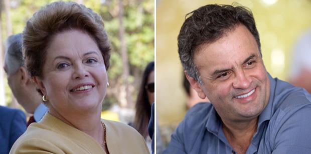 mostra a candidata Dilma Rousseff (PT) com 38% das intenções de voto. Em seguida, aparecem o candidato Aécio Neves (PSDB), com 22% | Fotos: Wilson Dias/Agência Brasil e PSDB/MG