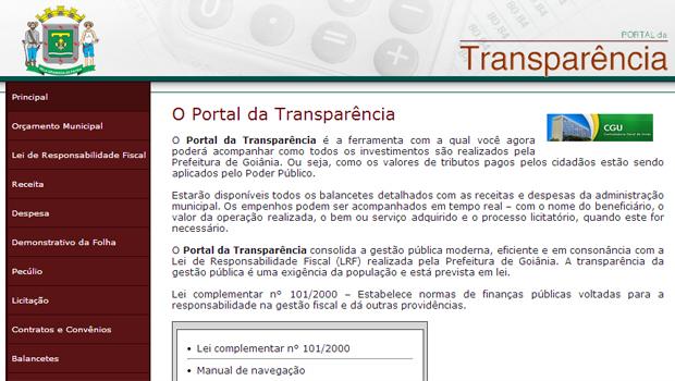 Portal da Transparência da Prefeitura de Goiânia: no período pesquisado, dados não estavam atualizados   Foto: Reprodução/Prefeitura de Goiânia