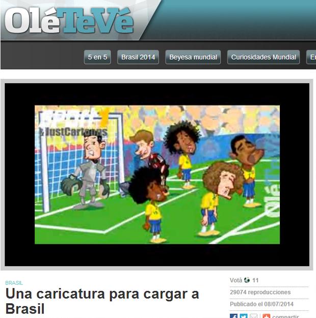 Animação satiriza derrota brasileira. No vídeo, jogadores do Brasil choram, enquanto um alemão entra no gol com carrinho de mão cheio de bolas   Foto: Reprodução/OléTeVê