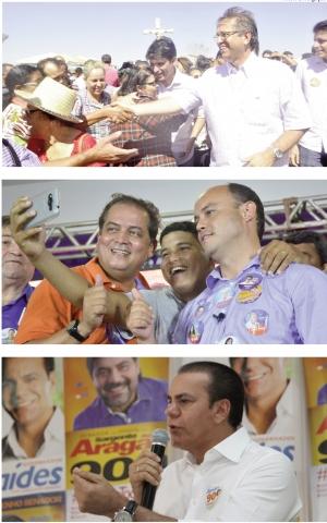 Marcelo Miranda (no alto), Sandoval Cardoso (no meio) e Ataídes Oliveira: foi dada a largada