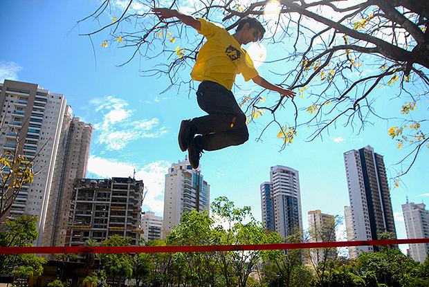 Camarguim é vice-campeão da categoria trickline   Foto: Marcello Dantas/Jornal Opção Online