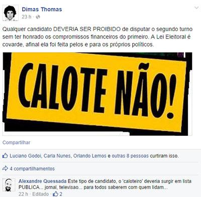 """Ex-marqueteiro de Iris Rezende reclama  que """"candidatos caloteiros"""" não deveriam disputar segundo turno"""