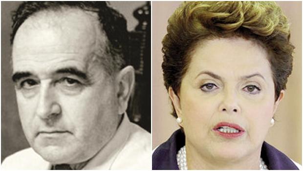 Getúlio Vargas e Dilma Rousseff: no governo do primeiro, havia um riacho de lama; na gestão da segunda, há um poderoso mar de lama. Eis o paradoxo: a petista é honesta Fotos: Reprodução / Divulgação