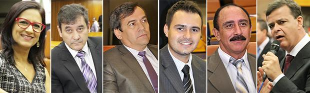 PMDB tem seis vereadores na Câmara: Célia Valadão, Clécio Alves, Eudes Vigor, Mizair Lemes Júnior, Izídio Alves e Paulo Borges | Fotos: Câmara de Goiania