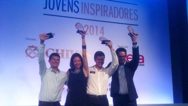 Lucas e os outros vencedores do prêmio, na solenidade em São Paulo | Foto: arquivo pessoal
