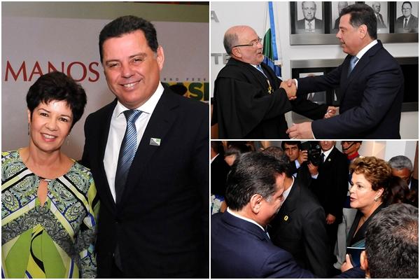 O governador com a a procuradora de Justiça de Goiás, Ivana Farina Navarrete Pena, que foi empossada no Conselho Nacional de Direitos Humanos; com o novo presidente do TCU, Aroldo Cedraz; cumprimentando a presidente Dilma Rousseff (PT) | Fotos: Laílson Damásio