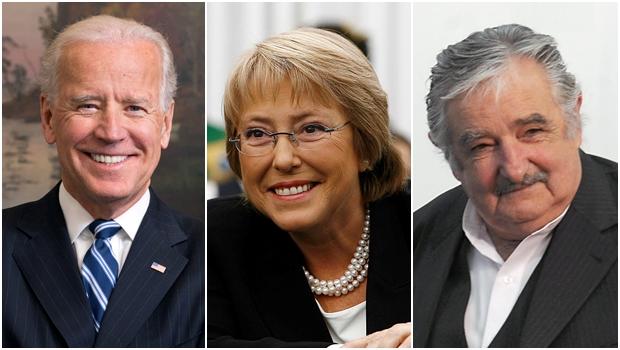 O vice-presidente dos EUA, Joe Biden; a presidente do Chile, Michelle Bachelet e o presidente do Uruguai, Pepe Mujica (Fotos: divulgação / reprodução ABr)