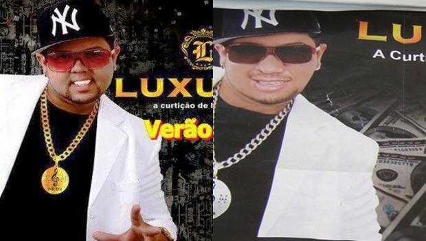 À esquerda, material de divulgação oficial da banda de 2013. À direita, material distribuído pelo falso cantor em Piranhas   Fotos: divulgação / Promotoria de Justiça de Piranhas