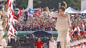 Presidenbte Dilma Rousseff durante sua cerimônia de posse, em Brasília , no primeiro dia deste ano