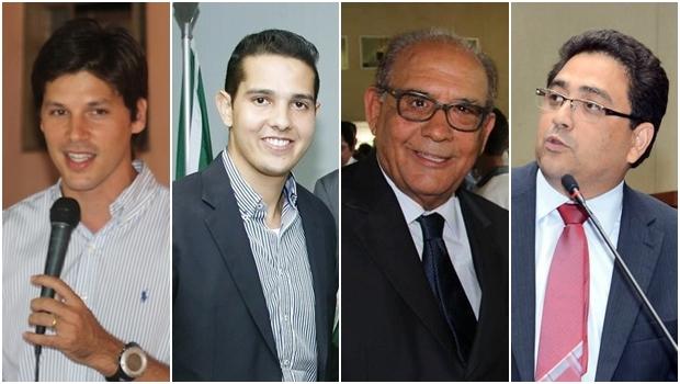 Problemas com a Justiça Eleitoral: Deputado federal Daniel Vilela (PMDB), deputado estadual Zé Antônio (PTB), deputado Roberto Balestra (PP) e deputado estadual Talles Barreto (PTB) | Fotos: reprodução / Facebook
