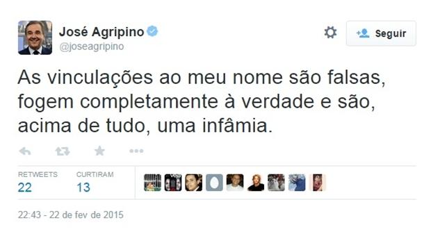 Senador José Agripinonegaacusações de corrupção no Detran/RN