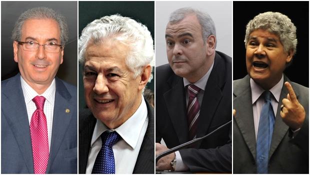 Eduardo Cunha (PMDB-RJ); Arlindo Chinaglia (PT-SP), Júlio Delgado (PSB-MG); e Chico Alencar (PSOL-RJ) na disputa pela presidência | Fotos: Agência Brasil e Câmara dos Deputados