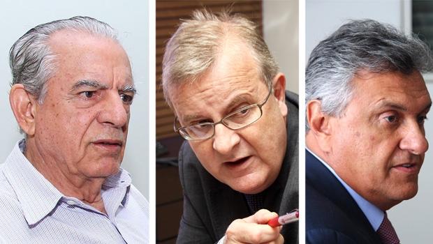 """Iris Rezende (PMDB), Paulo Garcia (PT) e Ronaldo Caiado (DEM): o triângulo """"amoroso"""" sugere que um está sendo enganado, possivelmente o petista / Fotos: Fernando Leite/Jornal Opção"""