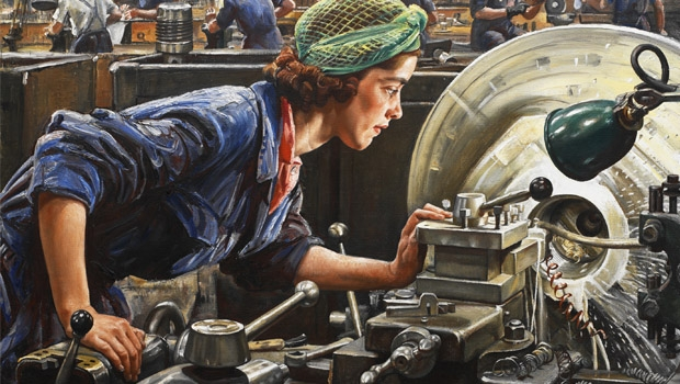 A mulher no trabalho, retratada em pintura dos anos 40: condições pouco favoráveis ainda nos dias de hoje | Foto: Ruby Loftus Screwing a Breech Ring, pintura de Laura Knight (1943)
