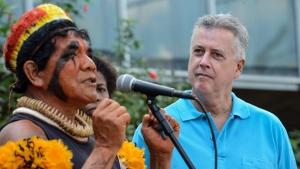 Abertura das comemorações do Dia do Índio no Memorial dos Povos Indígenas com a presença do Governador Rodrigo Rollemberg, com o caciques, Pericuman, representante dos Povos Indígenas / Foto: Elza Fiúza/ Agência Brasil