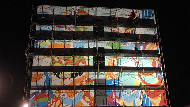 Mural artístico do Bicicleta Sem Freio embeleza Oscar Niemeyer