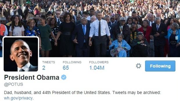 """Em seu primeiro tweet, Obama comemora: """"Após seis anos, eles finalmente me deram minha própria conta!"""""""