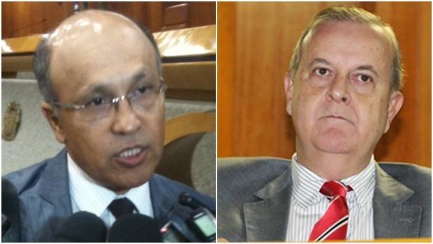 Secretário Jeovalter Correia (esquerda) acabou contradizendo o chefe; Prefeito Paulo Garcia (PT) durante prestação de contas na Câmara | Fotos: Eduardo Nogueira