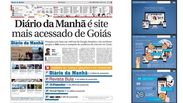 """Página do """"Diário da Manhã"""" destaca pesquisa que o coloca como líder no ranking dos sites goianos de comunicação; ao lado, o mídia kit de """"O Popular"""", em que até pouco tempo se destacava o número de acessos"""
