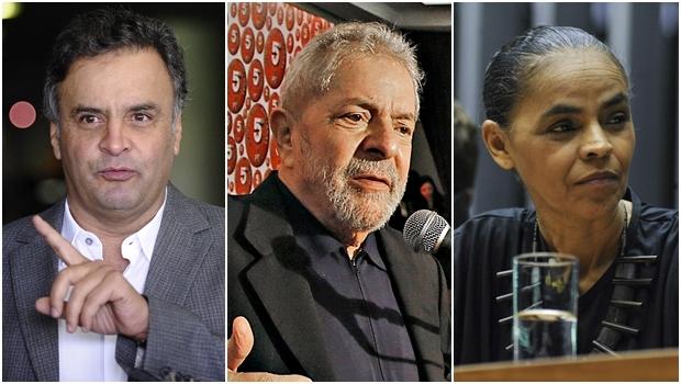 Aécio Neves (PSDB-MG) lidera intenções de voto; Lula (PT) aparece em segundo, seguido de Marina Silva (PSB) | Fotos: Agência Senado / Ricardo Stuckert