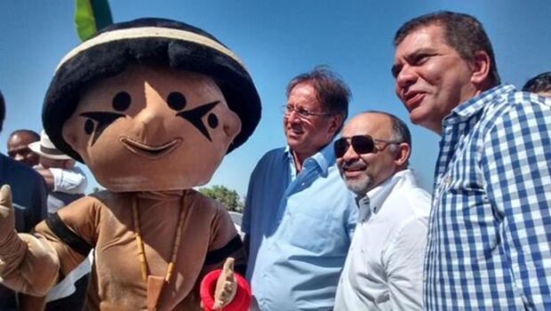 Ministro do Esporte, Marcelo Miranda e Amastha visitam obras dos Jogos Indígenas
