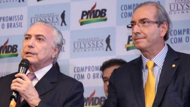 Vice-presidente Michel Temer e presidente da Câmara dos Deputados, Eduardo Cunha. Em nota do PMDBm legenda | Foto: Twitter/ Michel Temer