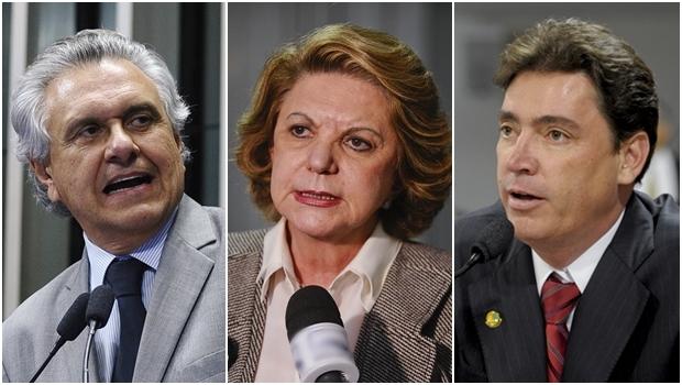 Senadores goianos Ronaldo Caiado (DEM), Lúcia Vânia (Sem partida) e Wilder Morais (DEM) | Fotos: Moreira Mariz / Agência Senado