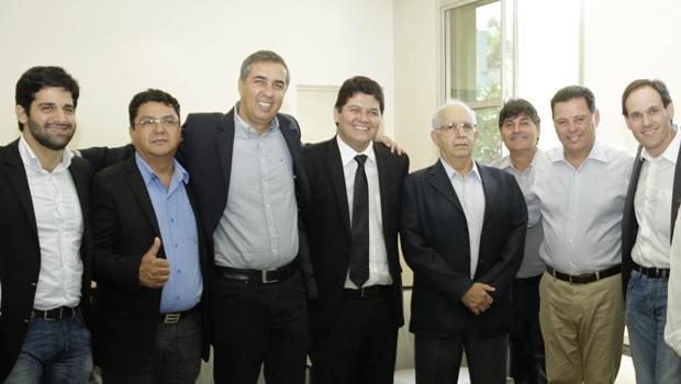 Wagner Guimarães se reúne com o governador Marconi Perillo e o vice, José Eliton. Além deles, participaram os deputados Heuler Cruvinel e Lissauer Vieira (ambos do PSD)   Foto: Jota Eurípedes