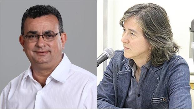 Ex-secretário Jeová (esq) e Branquinho, lotado hoje em departamento do Puama   Fotos: Reprodução/Facebook e Alberto Maia/Câmara de Goiânia
