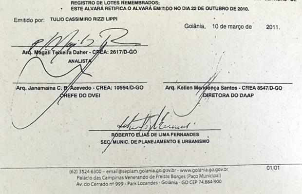 Documento mostra assinatura de Nagib Rahimi no lugar da de Magali Daher | Foto: Reprodução/Alexandre Parrode