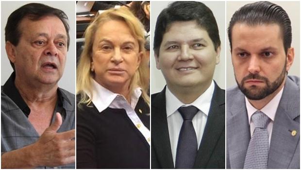 Jovair Arantes (PTB), Magda Mofatto (PR), Heuler Cruvinel (PSD) e Alexandre Baldy (PSDB): a favor da PEC | Fotos: reprodução / Facebook