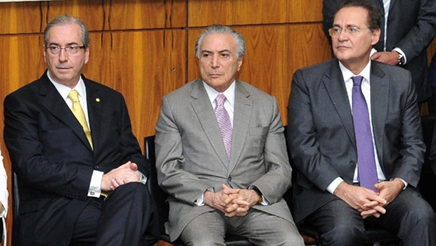 Deputado Eduardo Cunha, vice-presidente Michel Temer e senador Renan Calheiros: como presidente do partido, Temer tenta viabilizar o PMDB como um todo; os outros dois só pensam em salvar a própria pele