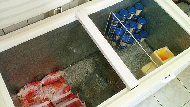 Outro freezer tinha requeijão, iogurte e queijo na Escola Abrão Rassi | Foto: Marcello Dantas