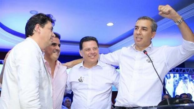 Senadores Wilder Morais e Ciro Nogueira, com o governador Marconi Perillo e o vice, José Eliton