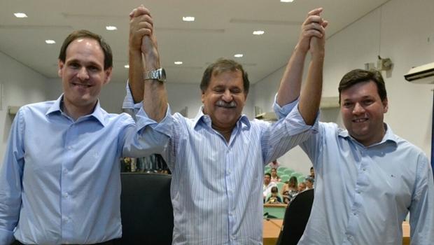 Deputado Lissauer Vieira, prefeito Juraci Martins e presidente da Câmara, Iram Cabral: frente do PP por Rio Verde   Foto: divulgação