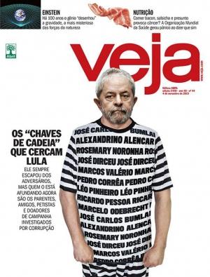 Lula como presidiário na capa da Veja em novembro de 2015
