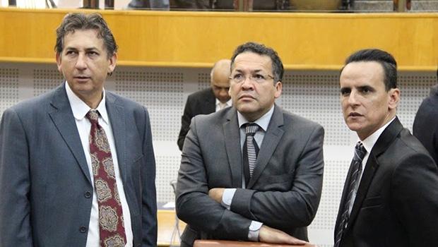 Três dos quatro integrantes do Bloco: Paulo da Farmácia (dir), Divino Rodrigues e Zander Fábio | Alberto Maia/Câmara de Goiânia