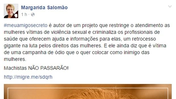 Deputada criticou colegas da Câmara dos Deputados no Facebook | Foto: Reprodução Facebook