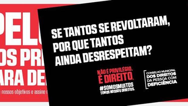 """Movimento que pedia fim de """"privilégios"""" para deficientes era campanha publicitária"""