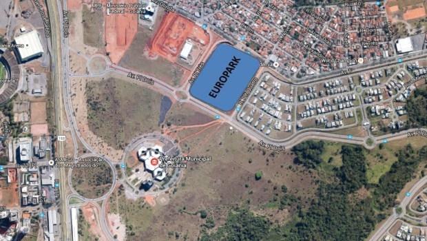 Obras estão sendo conduzidas nas proximidades do Paço Municipal   Foto: Reprodução/Google Earth