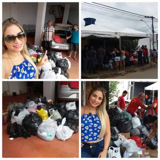 Flávia e suas doações para as vítimas da enchente do Ribeirão Anicuns