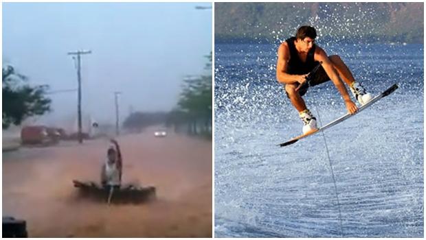 """Vídeo de homem """"fazendo wakeboard"""" em enchente viraliza nas redes sociais"""