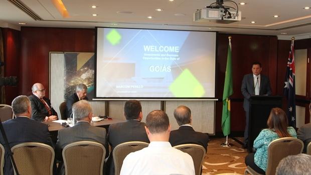 Durante palestra em Sydney, o governador Marconi Perillo (PSDB) apresentou a investidores as potencialidades de Goiás   Foto: Gabinete de Imprensa