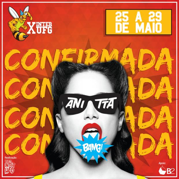 Cantora Anitta se apresenta em Goiânia no InterUFG 2016 | Foto: Reprodução/Facebook