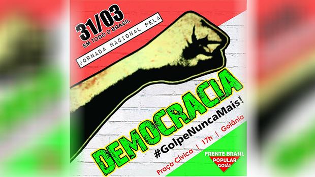 Manifestantes contra o impeachment fazem novo ato em Goiânia nesta quinta (31)